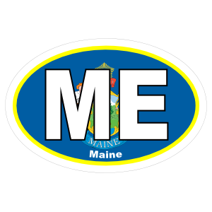 Maine Me State Flag Oval Sticker