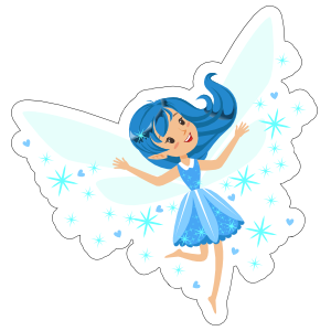 Fairy blue. With pixie dust sticker