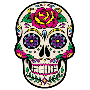 Decorative Skull with Beautiful Flower Sticker