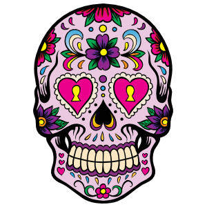 Decorative Skull with Heart Eyes Sticker