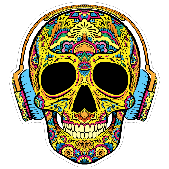 Decorative Skull with Headphones On Sticker
