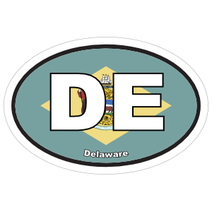 Delaware De State Flag Oval Sticker