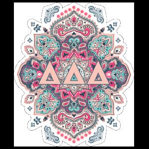 Light Pink and Blue Delta Delta Delta Mandala Sticker