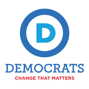 Democratic Party Logo with Slogan Tall Color Sticker