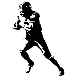 Detailed Running Football Player Sticker