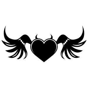 Devil Heart With Wings Sticker
