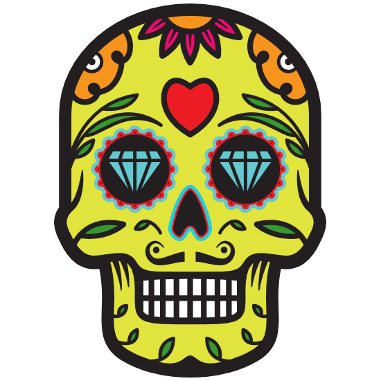 Diamond Eyes Day of the Dead Skull Sticker