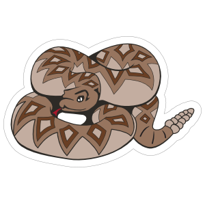 Diamondback Rattlesnake Mascot Sticker