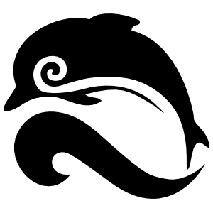 Swirl Dolphin Jumping Over A Wave Sticker