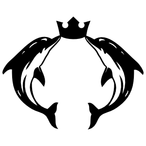 Two Dolphins With A Crown Sticker