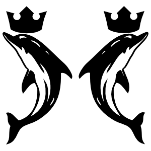 Two Dolphins With Crowns Sticker