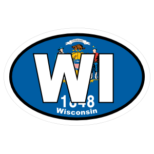 Wisconsin Wi State Flag Oval Magnet