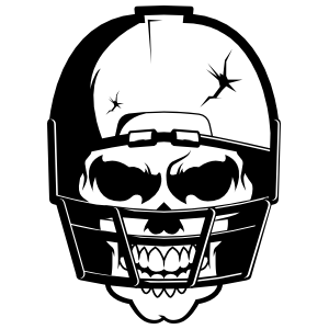 Skull in Cracked Football Helmet Sticker