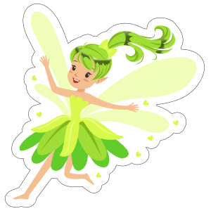 Green Fairy with Hearts Sticker