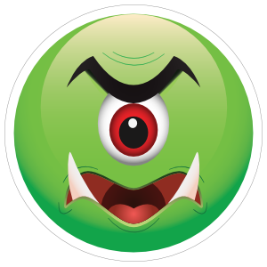 Cute One Eyed Green Monster Emoji Sticker