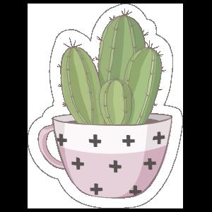Cactus in Pretty Pink Mug Sticker
