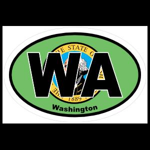 Washington Wa State Flag Oval Sticker