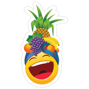 Cute Laughing with Fruit Hat Emoji Sticker