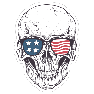 Skull In American Flag Sunglasses Sticker