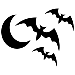 Flying Bats And The Moon Sticker
