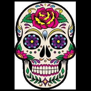 Decorative Skull with Beautiful Flower Sticker