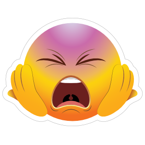 Cute Screaming Hands on Face Emoji Sticker