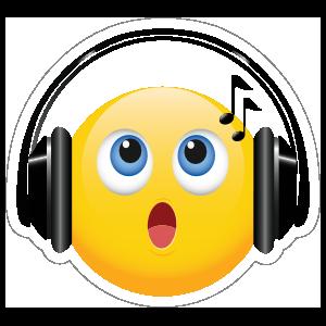 Cute Headphones Singing Emoji Sticker