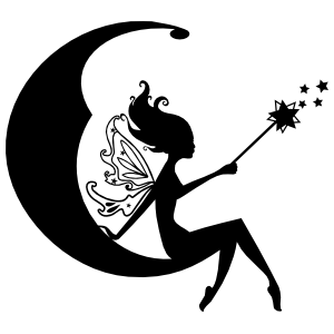 Fairy Casting Magic In The Moon Sticker