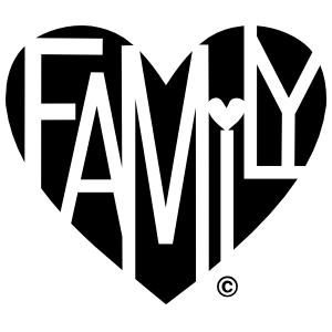 Family Lover's Heart One-Color Sticker