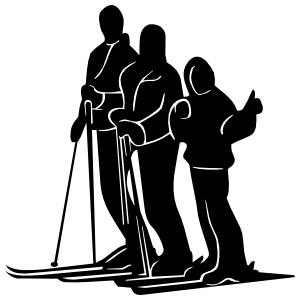 Family Skiing Sticker