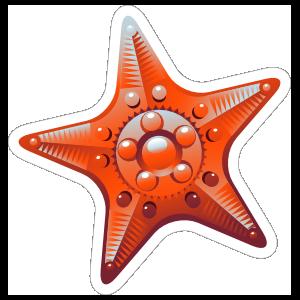 Fancy Red Starfish Sticker