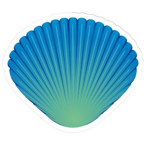 Pretty Blue and Green Seashell Sticker