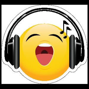 Cute Headphones Singing Loudly Emoji Sticker