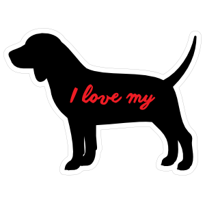 Handwritten I Love My Beagle Silhouette  Sticker