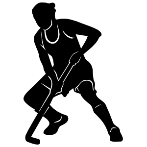 Field Hockey Player Squatting Sticker
