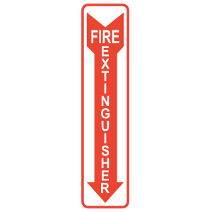Fire Extinguisher Red Arrow Vertical Sign Sticker