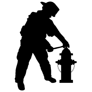 Firefighter Fireman With Fire Hydrant Sticker