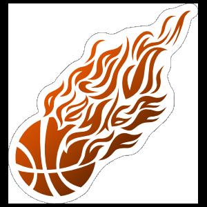 Flames Basketball Sticker