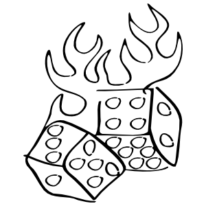 Flaming Dice Sticker