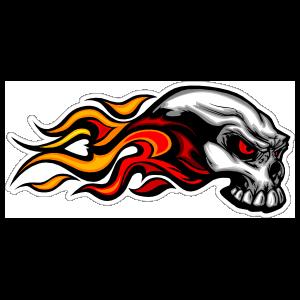 Flaming Skull On Fire Sticker