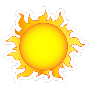 Flaming Sun Sticker