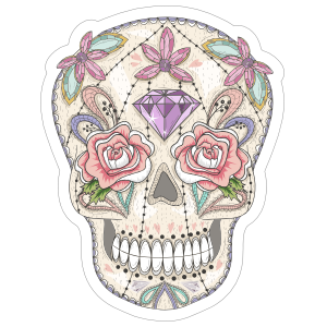 Flower And Diamond Day Of Dead Skull Sticker