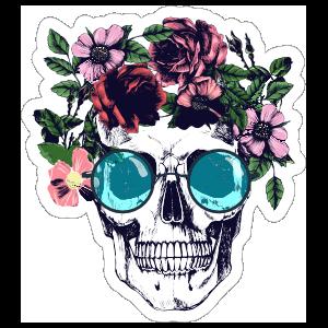 Flower Headband and Sunglasses Skull Sticker