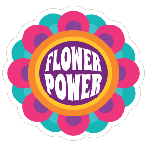 Flower Power Hippie Sticker