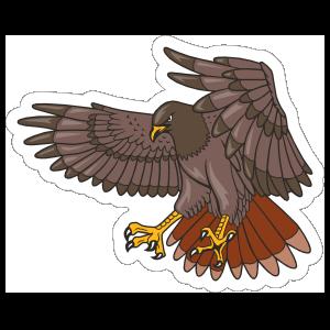 Flying Hawk Mascot Sticker