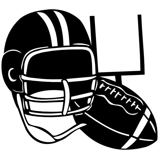 Football Helmet And Ball With Post Sticker