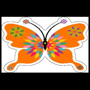 Fun Orange Butterfly Sticker