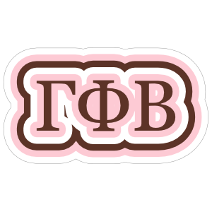 38adc146 Gamma Phi Beta Rippling Letters Sticker