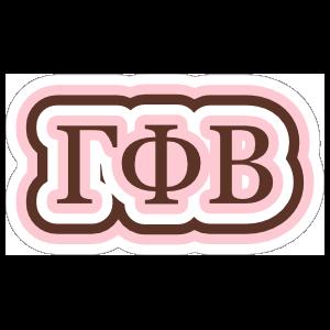 Gamma Phi Beta Rippling Letters Sticker