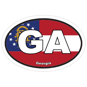 Georgia Ga State Flag Oval Sticker